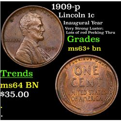 1909-p Lincoln Cent 1c Grades Select+ Unc BN