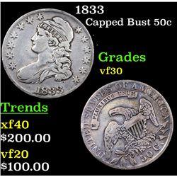 1833 Capped Bust Half Dollar 50c Grades vf++
