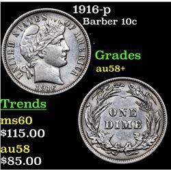 1916-p Barber Dime 10c Grades Choice AU/BU Slider+