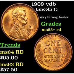 1909 vdb Lincoln Cent 1c Grades Select+ Unc RD