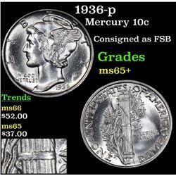 1936-p Mercury Dime 10c Grades GEM+ Unc