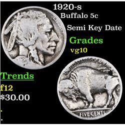 1920-s Buffalo Nickel 5c Grades vg+