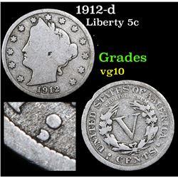 1912-d Liberty Nickel 5c Grades vg+