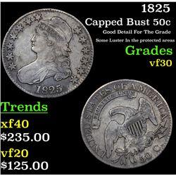 1825 Capped Bust Half Dollar 50c Grades vf++