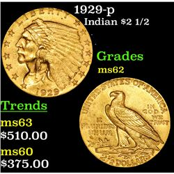 1929-p Gold Indian Quarter Eagle $2 1/2 Grades Select Unc