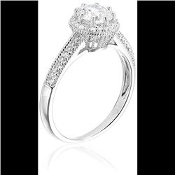 Sterling Silver Round Cut Cathedral Engagement Ring Size 7