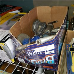 AUTO BODY TOOLS, BLUE PAINT, AIR SANDER, AND CHICAGO PHEUMATIC OIL SANDER