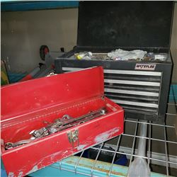 WATERLOO TOOL CHEST AND RED TOOL BOX FULL OF WRENCHES