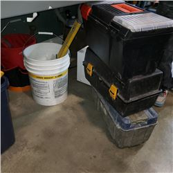 2 BUCKETS OF DRYWALL TOOLS AND 3 TOOL BOXES W/ CONTENTS