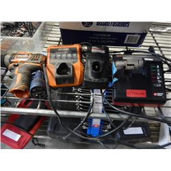 RIDGID DRIILL AND CHARGER WITH PORTER CABLE CHARGER ETC