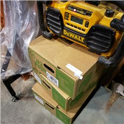 3 BOXES OF TOOLS AND DEWALT JOBSITE RADIO