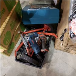 BOSCH, MILWAUKEE, AND HILTI TOOLS W/ MAKITA TOOL CASE