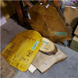 LOT OF LOG SLABS AND WOOD ART