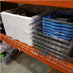BOX OF POWER TOOLS AND WIRE TRAYS