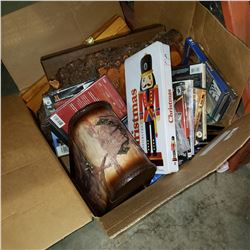 BOX OF ESTATE GOODS, DVDS, BURL CLOCK