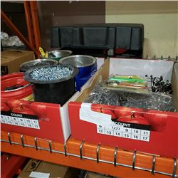 BOX OF VARIOUS FASTENERS AND CASE OF CORDLESS TOOLS