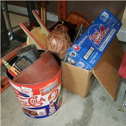 BOX OF ESTATE GOODS, COLLECTABLES, PEPSI COLA TIN