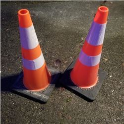 "2 NEW TRAFFIC REFLECTIVE CONES 36"" TALL RETAIL $50 EACH"