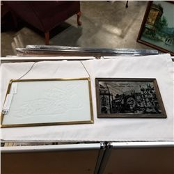 MIRRORED PICCADILLY CIRCUS PRINT AND ETCHED GLASS FIRST NATIONS ART