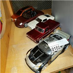4 DIE CAST CARS AND TOY CAR