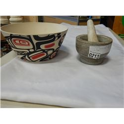 MORTOR AND PESTLE AND FIRST NATIONS BOWL