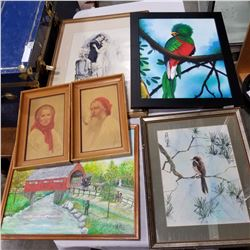 EASTERN BIRD PRINT AND LOT OF PAINTINGS