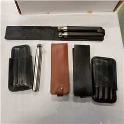 BOX OF LEATHER CIGAR POUCHES AND MORE