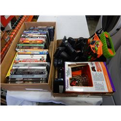 TRAY OF DVDS AND TOYS
