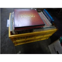 LARGE LOT OF RECORDS IN YELLOW CRATE