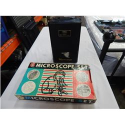 VINTAGE MIKRO KRAFT MICROSCOPE SET AND TACON MISCROSCOPE