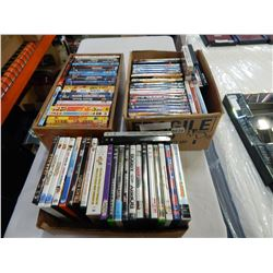 3 BOXES OF DVDS