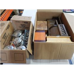 LOT OF STAINLESS SERVING ITEMS AND BOX OF WOOD BOXES