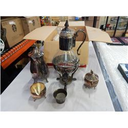 LEONARD SILVER PLATE COFFEE SET AND GLASS COFFEE POT ON STAND