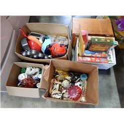 BOX OF KITCHEN ITEMS, ULU KNIFE, PUZZLES, AND WOOD BOX