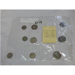 11 SILVER COINS