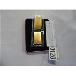 2 24K GOLD PLATED BARS