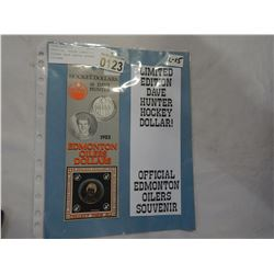 OFFICIAL ISSUE EDMONTON OILERS DAVE HUNTER HOCKEY DOLLARS
