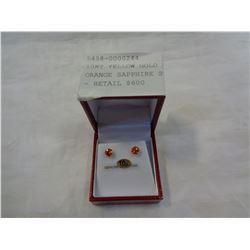 10KT YELLOW GOLD 5mm GENUINE ORANGE SAPPHIRE STUD EARRINGS - RETAIL $600
