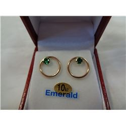 10KT ROSE GOLD 4mm RECONSTITUTE EMERALD EARRINGS .46CTS W/ APPRAISAL $1105