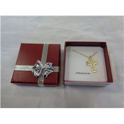 STERLING SILVER YELLOW GOLD PLATED CROSS PENDANT W/ CHAIN - RETAIL $200