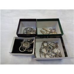 4 TRAYS OF SILVER TONE JEWELLERY