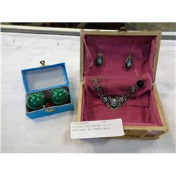 NECKLACE AND EARRING SET IN WOOD CHEST W/ STRESS BALLS