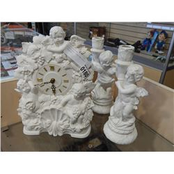 PORCELAIN CLOCK AND CANDLE HOLDERS
