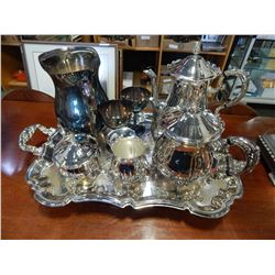 LOT OF SILVER PLATED TEA SERVICE AND LARGE TRAY
