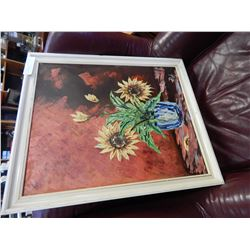 OIL ON CANVAS FLORAL PAINTING IN WHITE FRAME