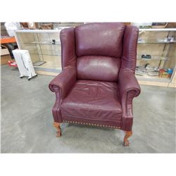 CLAW FOOT LEATHER WINGBACK CHAIR