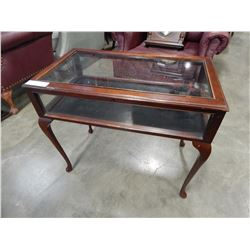 QUEEN ANNE GLASS LIFT TOP DISPLAY END TABLE