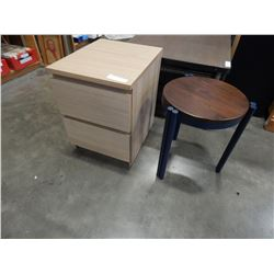 2 DRAWER END TABLE AND SMALL STOOL