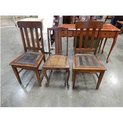 3 ANTIQUE WOODEN CHAIRS