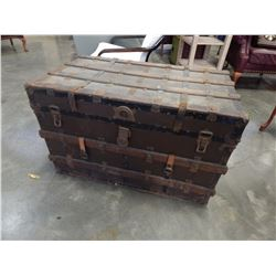 METAL AND WOOD BOUND CHEST W/ TRAY